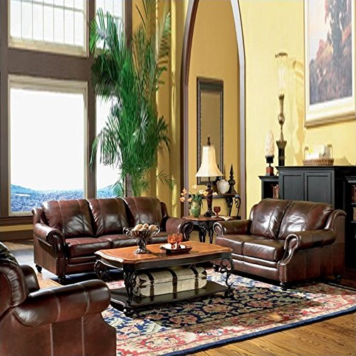 Coaster Princeton 3 Piece Leather Sofa Living Room Set in (Reclining Traditional Sofa)