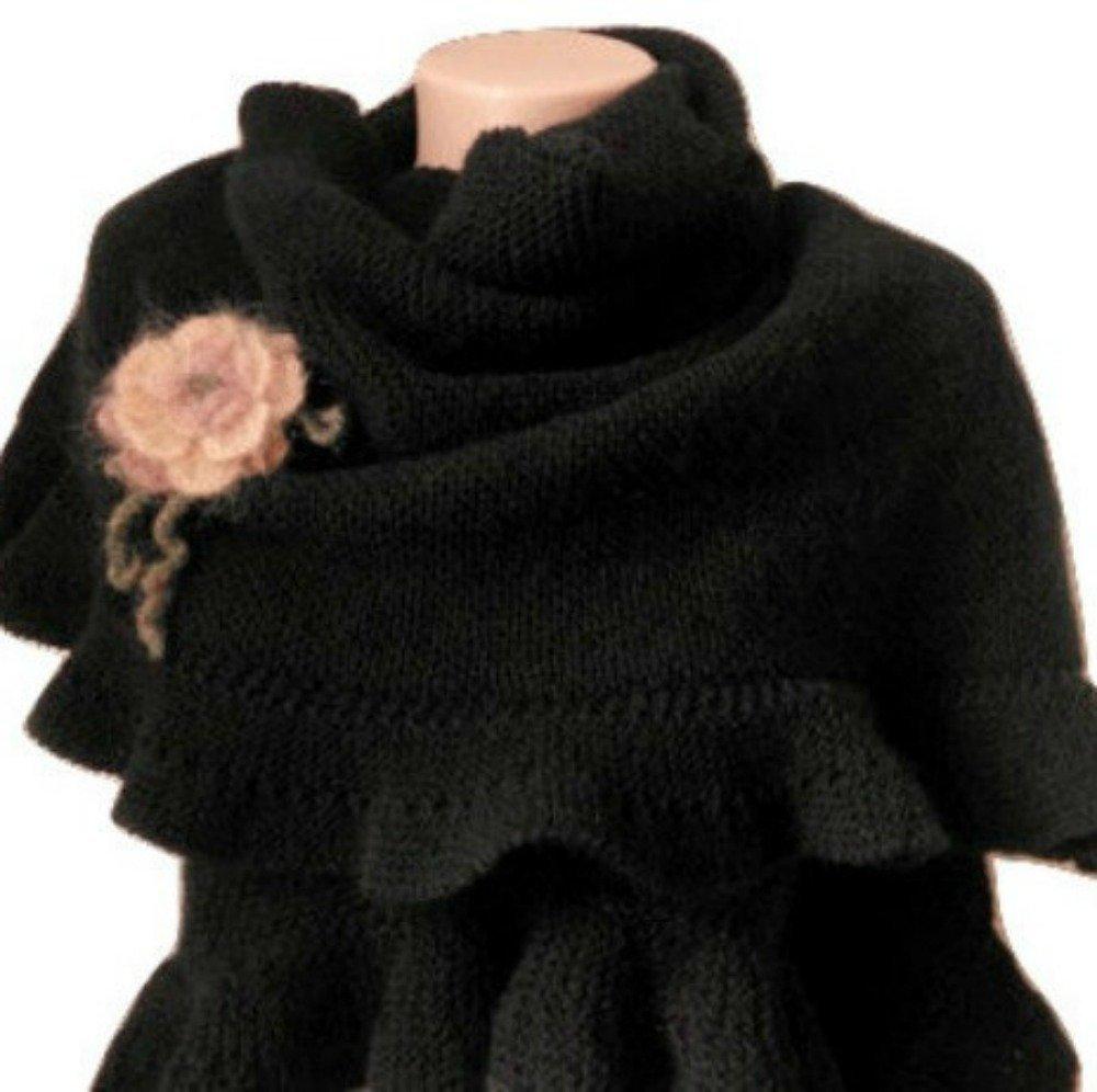 Black Wool Ruffle Large Shawl Hand Knit