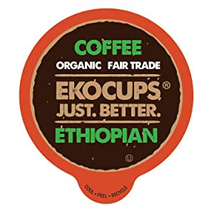 EKOCUPS Artisan Organic Ethiopian Hot or Iced Coffee, Medium Roast, in Recyclable Single Serve Cups for Keurig K-cup Brewers, 20 count