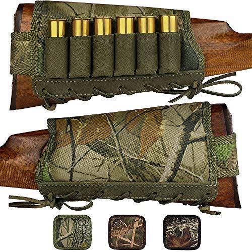 BronzeDog Camo Buttstock Cheek Rest Ammo Holder for Shotgun 12 16 Gauge Adjustable Shell Holder Hunting Carrier Right Handed (Green Oak Camo) ()