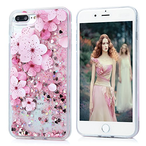 iPhone 7 Plus Case, Liquid Glitter Case Bling Shiny Sparkle Flowing Moving Love Hearts Cover Clear Ultral Slim Protective TPU Bumper Shockproof Drop Resistant Protective Case for iPhone 8 Plus KASOS by KASOS (Image #1)