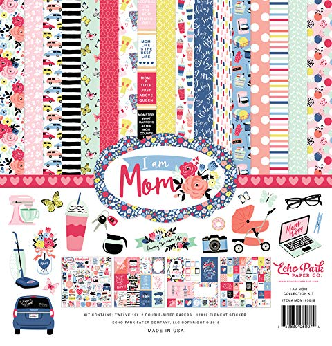 Echo Park Paper Company MOM165016 I am Mom Collection Kit Paper, Pink, Green, Red, Navy, Blue, Teal, Black