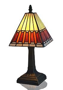 nobeiyi iluminación Espacio estilo Tiffany lámpara de mesa con aleación de cinc Base y Vitral Shade Uso Bombilla LED (latón envejecido/Color Blanco y Rojo, De 6Pulgadas De Ancho, 8pulgadas diagonal