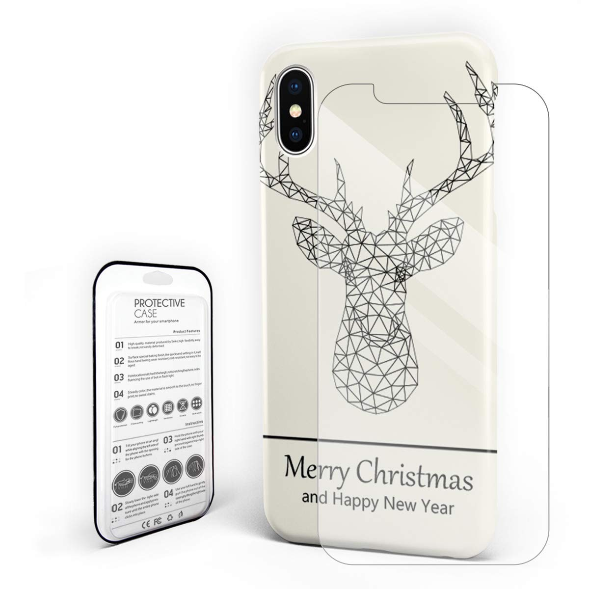 Amazon.com Christmas Polygon Elk Head Line Drawing iPhone