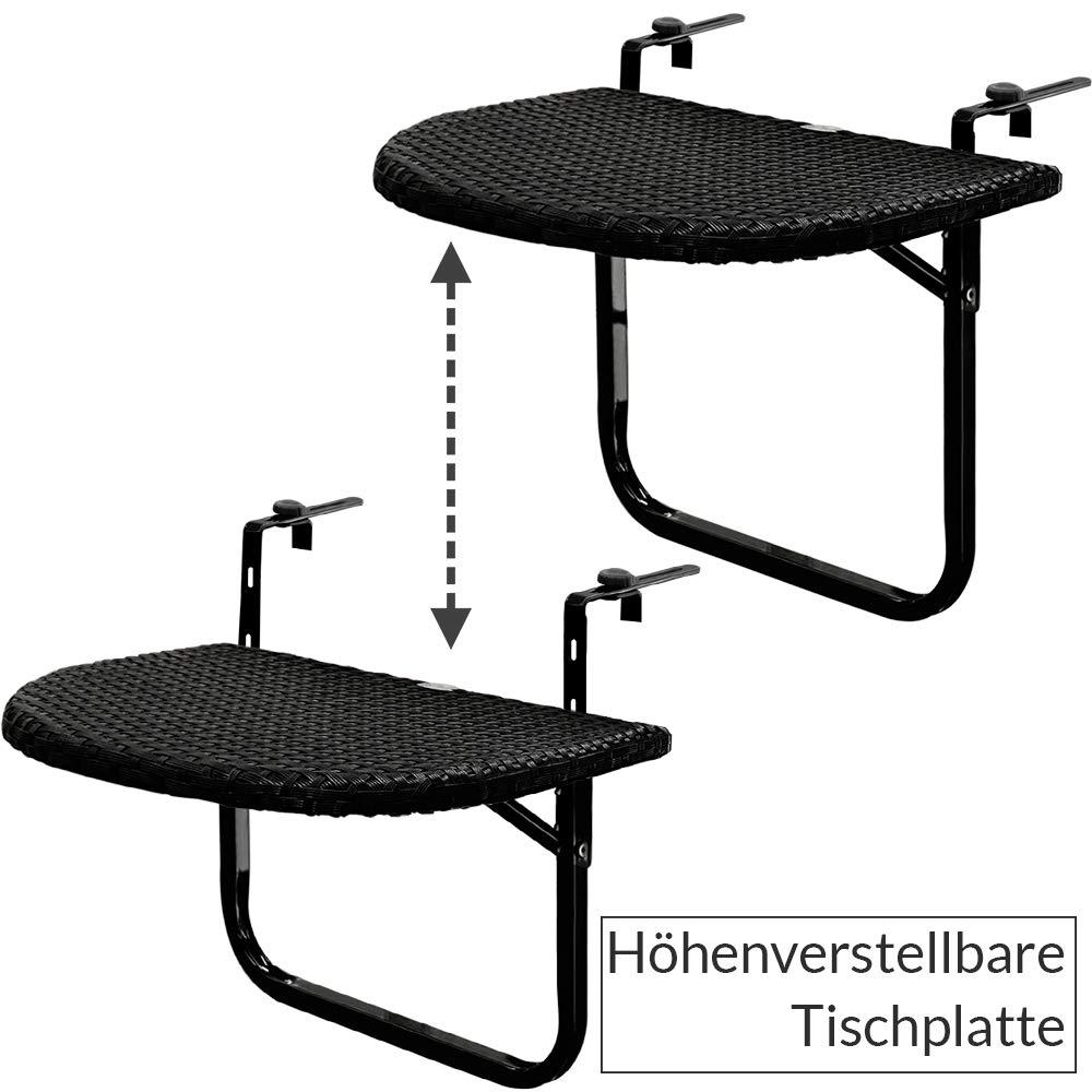 0038f2773a423 Table de balcon tablette suspendue ajustable en hauteur - rabattable  polyrotin noir: Amazon.fr: Jardin