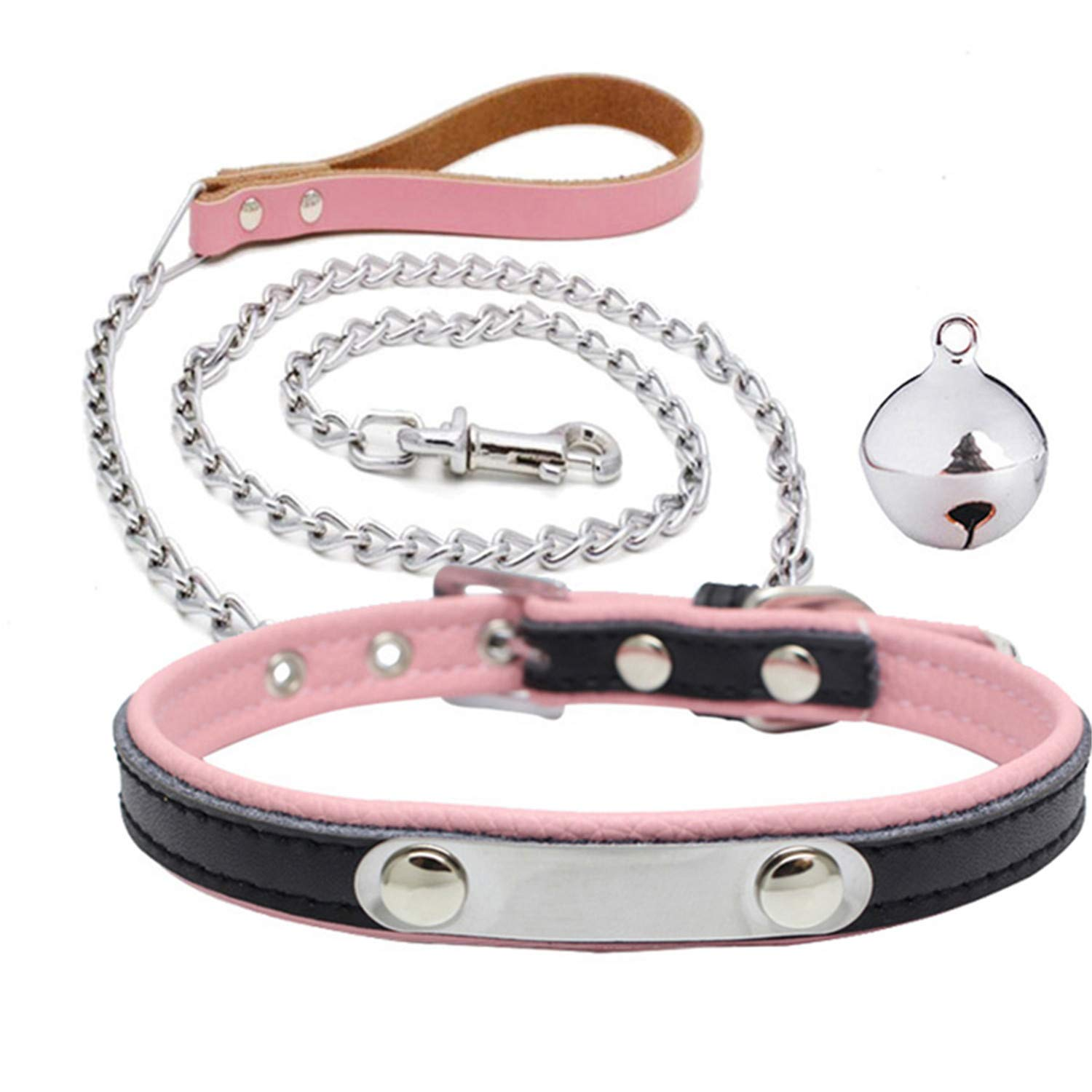 QIHUOKEJU Fashion PU Leather BDSM Collar & Metal Chain Leash Erotic Toys Fetish Slave Torture Sex Toys