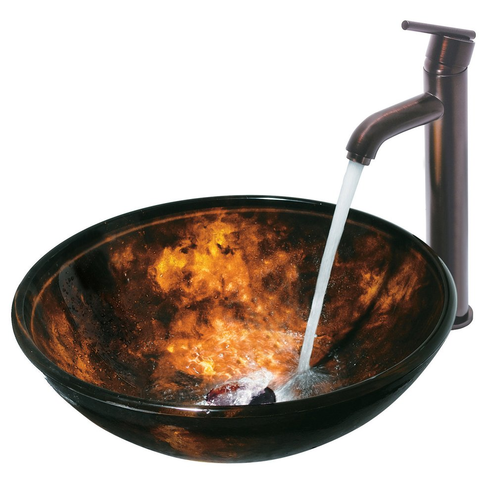 Bathroom available in 5 finishes vessel bathroom sinks msrp 425 - Vigo Brown And Gold Fusion Glass Vessel Bathroom Sink Basin Sink Amazon Com