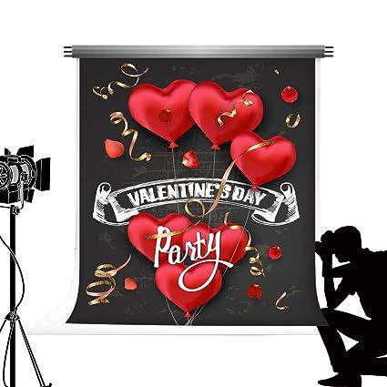 Kate 10x10ft/3x3m Valentines Day Backdrop Corazones Rojos con Forma romántica Globos de Aire Fondo Pizarra Backdrop Fiesta Celebraciones Foto Telón ...