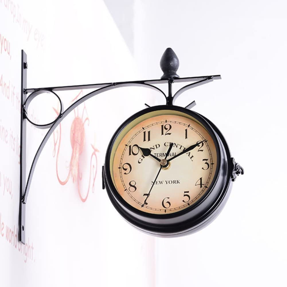 BaSeng Bracket Clock Retro Wall Clock Double-Sided European Antique Style Creative Classic Wall Hanging Clocks Horological Decoration Ornaments Living Room Wall Clock