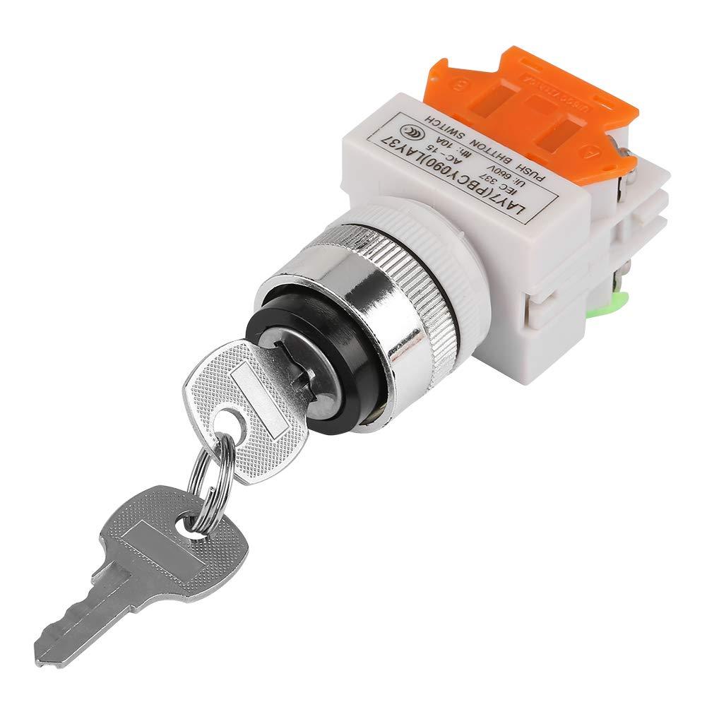21 220V Interruptor Rotativo de Llave de 2 Posiciones con 2 Llaves 22 mm Orificio de Montaje LAY37-11Y