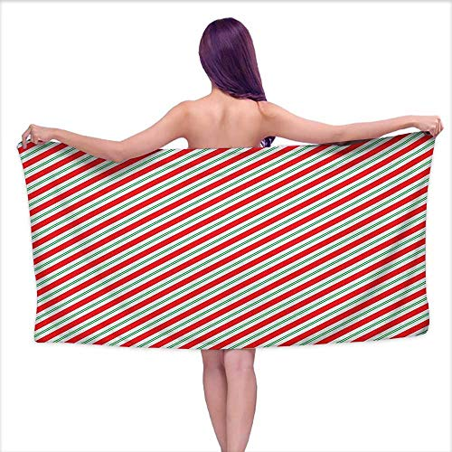 Bath Towels Set Candy Cane,Bicolor Stripes and Lines Festive Traditional Design Seasonal Pattern, Red Fern Green White,W12 xL35 for Kids Mickey - Cane Mouse Stripe Candy