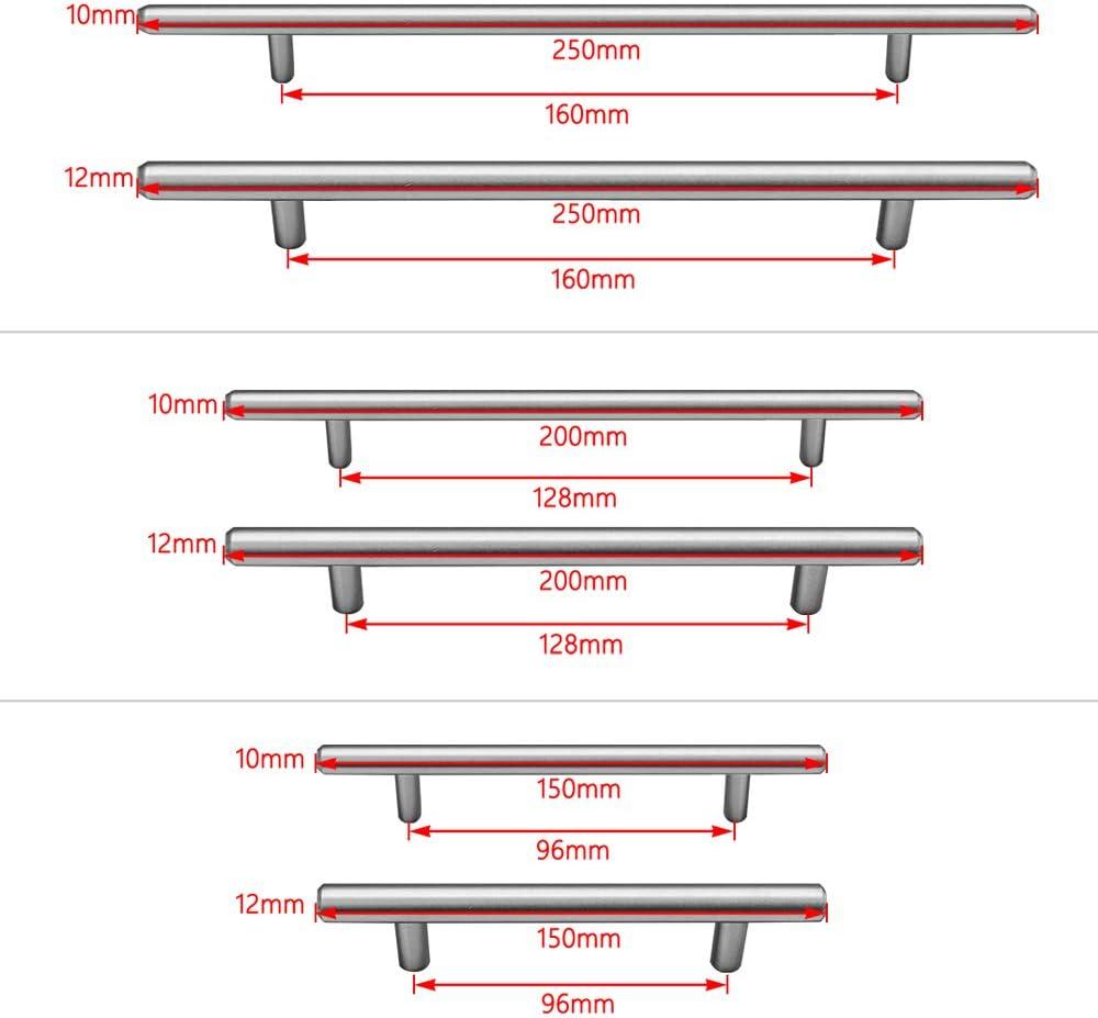 160mm//Distancia de agujeros HENGMEI 20xTirador de Mueble Tirador de barra acero de inoxidable T Manillas Tiradores di/ámetro 12mm