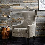 TOV Furniture The Gramercy Collection Contemporary Linen Upholstered Pattern Embroidered Living Room Wing Chair, Beige