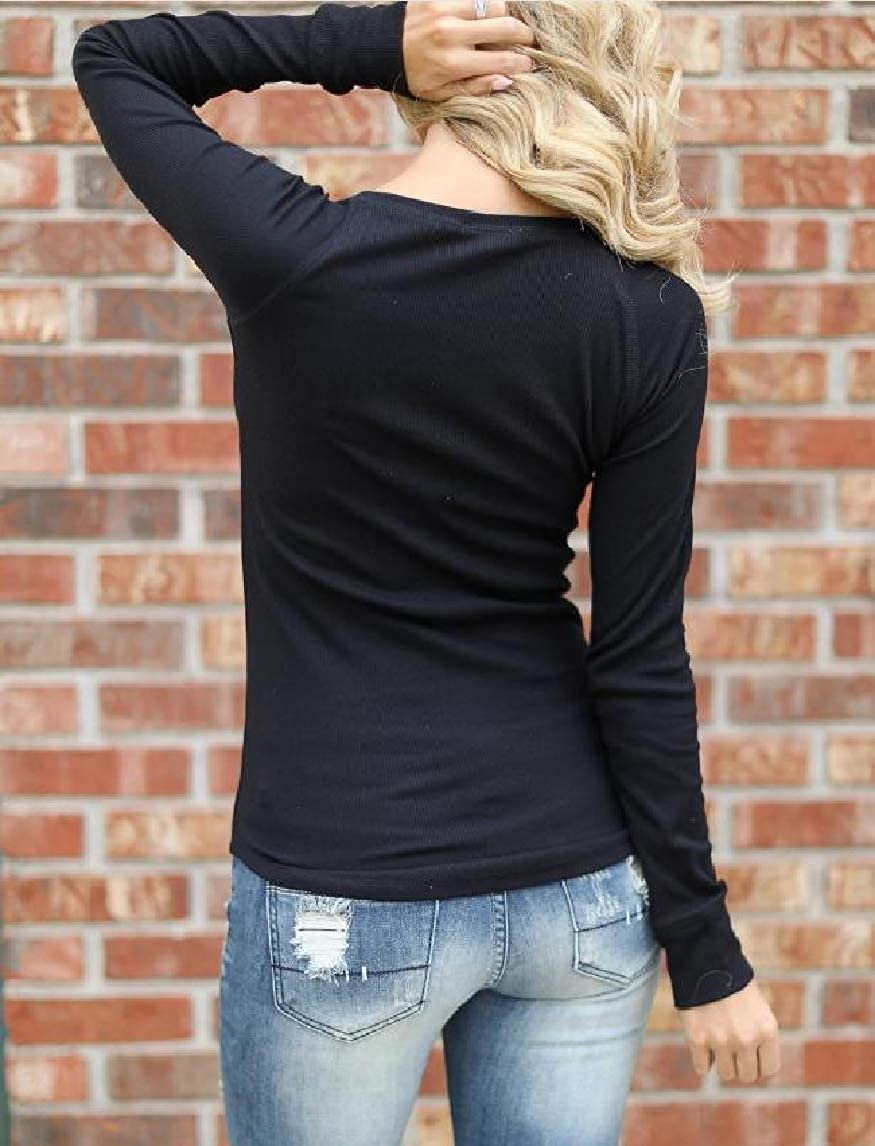Mfasica Womens Fashion Pure Pullover Skinny V Neck Buttons Long-Sleeve T-Shirt