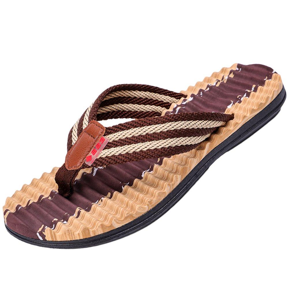 Yiiquanan Herren Sommer Weichen Gewellte Streifen Flip Flops Schuhe Sandalen Freizeit Outdoor Slipper Braun