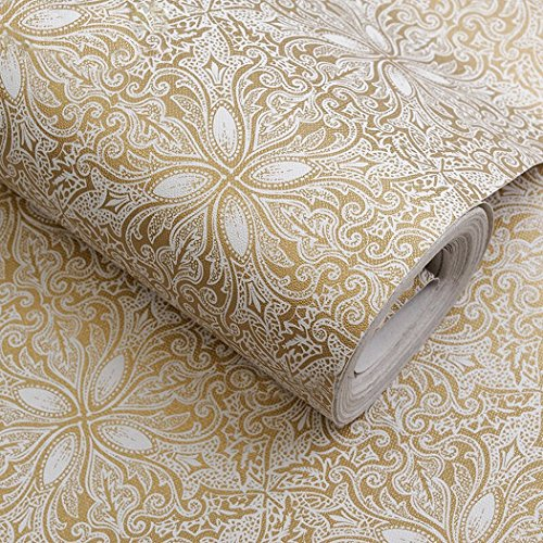 Walldecor1 Self Adhesive Vintage Gold Floral Contact Paper Shelf Liner Dresser Drawers Cabinet Sticker 17.7 x 196 Inches (Drawer Liner Paper For Dresser)