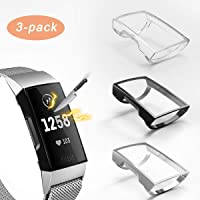 3 Pack Compatible with Fitbit Charge 4/Charge 3 Screen Protector,Valband Ultra Slim Soft Full Cover Case [Scratch-Proof…