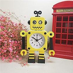 Ayzr Robot Alarm Clock Lovely Creative Cartoon Metal Bedroom Living Room Lounge Clock,Yellow