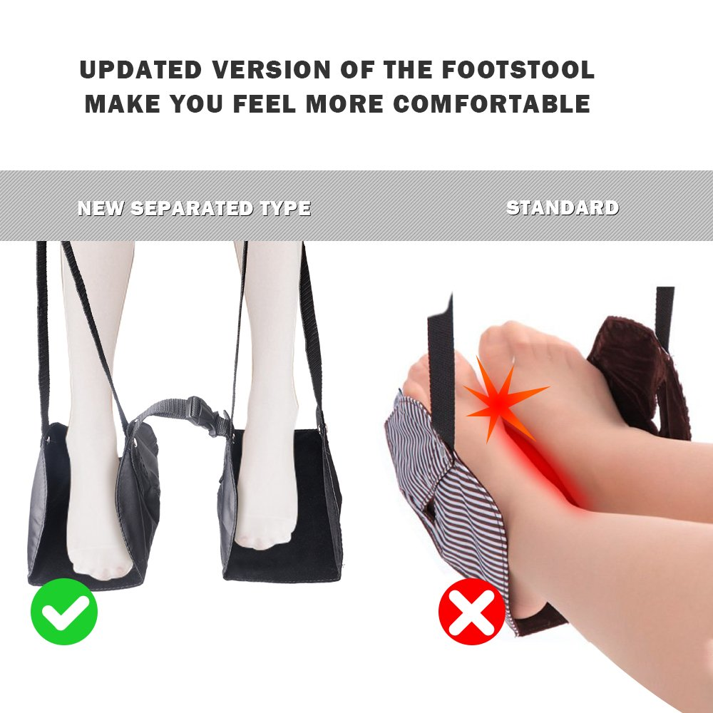 Foot Rest, MeanLove Portable Travel Accessories Footrest Flight Carry-on Foot Rest, Footrests Hammock with Adjustable Height (Black)