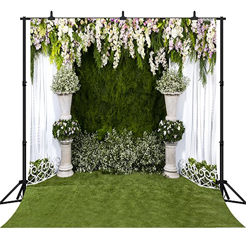 DePhoto 10x10Ft(300X300CM) Colorful Flowers White Lace Curtain Wedding Ceremony Theme Seamless Vinyl Photography Backdrop Photo Background Studio Prop PGT105D