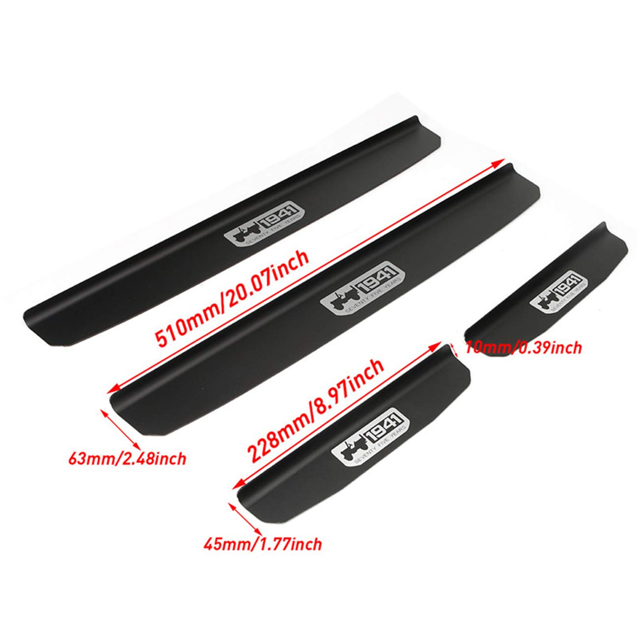 Aluminum Sill Guards /& Door Step Sill Scuff Plate Protectors 1941 Style for 2018-2019 Jeep Wrangler JL 4 Door