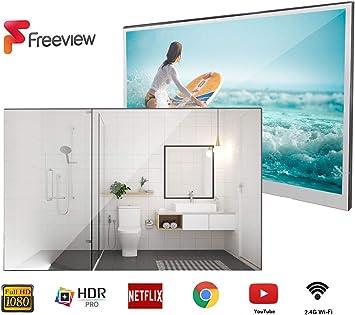 Soulaca Smart Mirror TV de 22 Pulgadas IP66 TV a Prueba de Agua para baño, Hotel con Control Remoto (último Modelo de 2019): Amazon.es: Electrónica