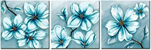 """sechars Modern Canvas Art Wall Decor teal Blue Flower Picture Printed on Canvas Painting Abstract Floral Artwork for Bedroom bathroom Decoration Stretched and Framed Ready to Hang (Blue, 12""""x12""""x3pcs)"""