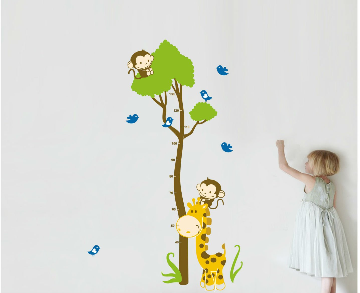 Kinderzimmer Babyzimmer Entfernbare Wandtattoos Wandbilder ufengke/® Comic-Tiere Cute Waschb/är Affen Elefanten Leoparden und Baum Reben Messlatten Wandsticker