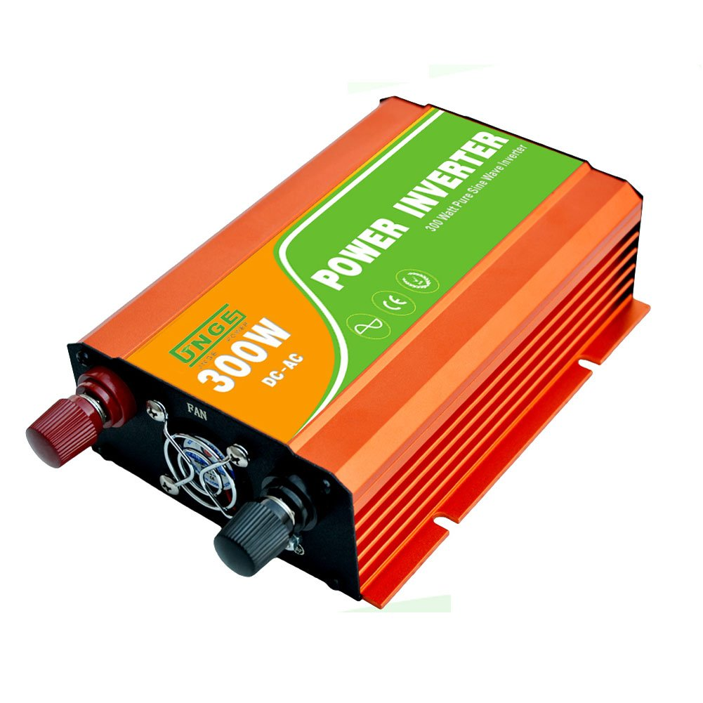 JNGE POWER 300W DC to AC Pure Sine Wave Solar Power Inverter with 5V USB and 120V AC output outlets (12V) by JNGE (Image #5)