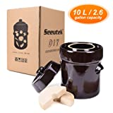 Fermentation Crock Jar 10 Liter / 2.6 Gallon - Stoneware Pot for Fermenting, Pickling Kimchi, Sauerkraut, Pickles, Vegetables, Kombucha - Glazed Ceramics Fermenter with Stone Weights, Lid (Color: Brown, Tamaño: 10L)