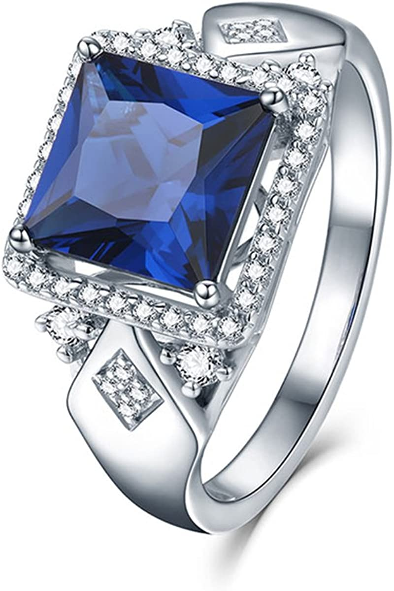 Pegaffi 3.72Ct Princess Cut Halo Engagement Ring 925 Sterling Silver for Women