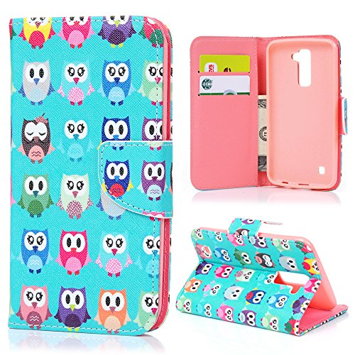 LG K10 Case,LG Premier LTE Case Cute Wallet Colorful Painting Folio PU Leather Fold Pouch Case with [Kickstand] Magnetic Closure Card Slots Soft TPU Rubber Inner Case by Badalink - Colorful Owls (Skin Smartphone 0)