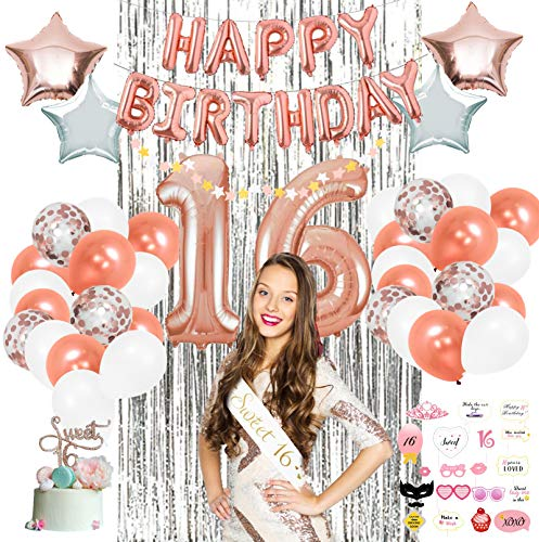 Sweet 16 Party Supplies by Serene Selection (pcs), Rose Gold Birthday Decorations for Girls, Photo Booth Props, Silver Fringe Foil Curtain, Cake Topper, Happy Birthday Balloons, Sash