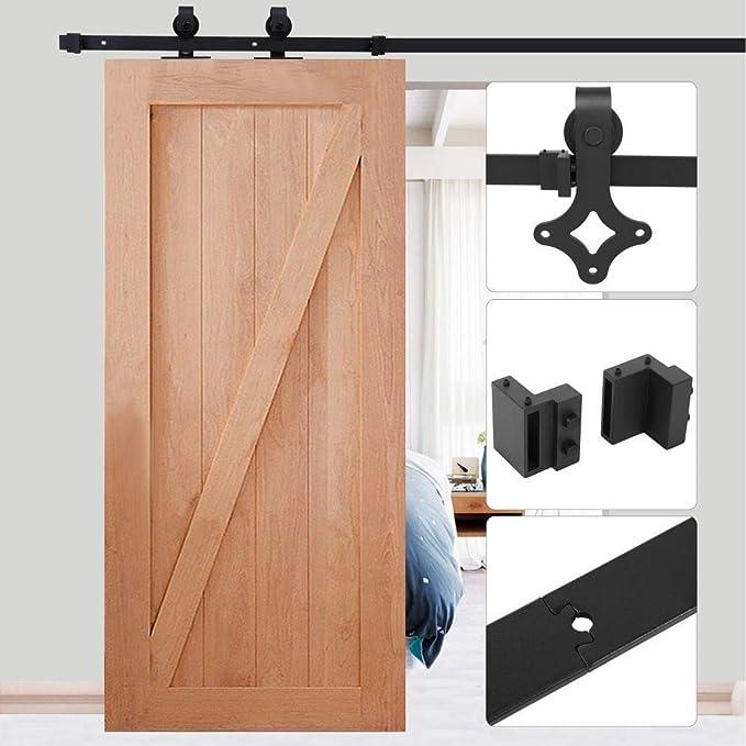 Zoternen - Puerta corredera suspendida de Madera para Puerta Colgante con raíl de 6 cm, Color Negro, Acero, fácil de Instalar: Amazon.es: Hogar