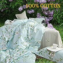 Riho 100% Cotton Twim Full Queen Size Rural Flowers Floral Rose Elegant Comfortable Bedding Sets Bedding Collections Bedding Sheets,3-Pieces(1 Duvet Cover+1 Sheet+1Pillowcase) (Twin, Blue&White)