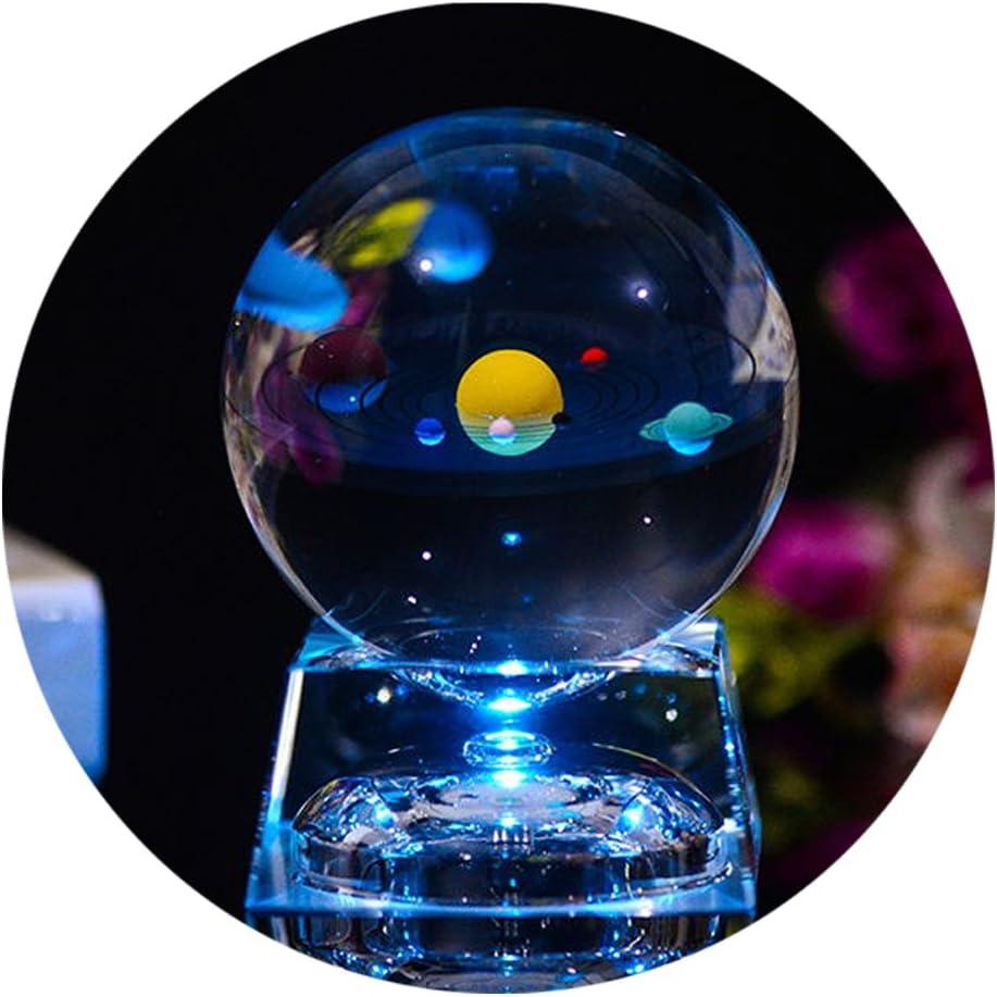 Bola de Cristal 3D con modelo de Sistema Solar y Base de Lámpara LED, Bola Transparente de Sistema Solar de 80mm (3.15 pulgadas), El Mejor Regalo de Cumpleaños para Niños, Profesor de Física