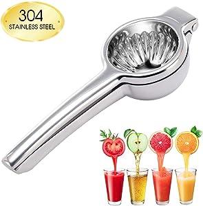 CHEFLY Lemon Squeezer 304 Food-Grade Stainless Steel Unbreakable Dishwasher-Safe Ergonomic Handle Manual Juicer for Lime Orange Citrus J2001