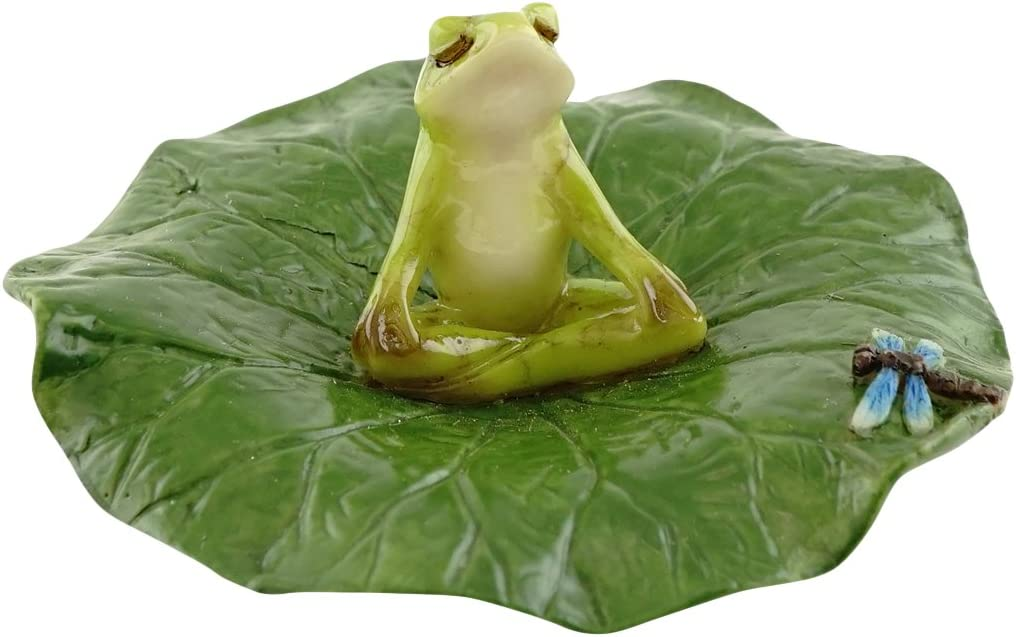 Top Collection Miniature Fairy Garden and Terrarium Frog Meditating on Lotus Leaf with Dragonfly Figurine