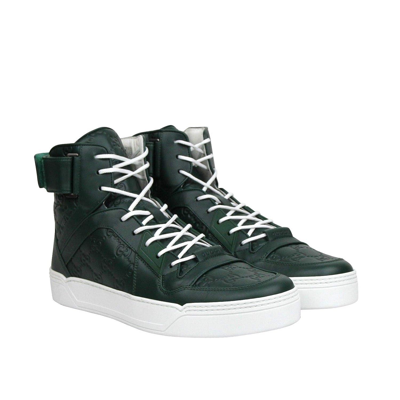 d9e926e27 Amazon.com: Gucci Men's Guccissima Dark Green Leather Hi Top Sneakers  431141 3020 (10 G/US 10.5): Shoes