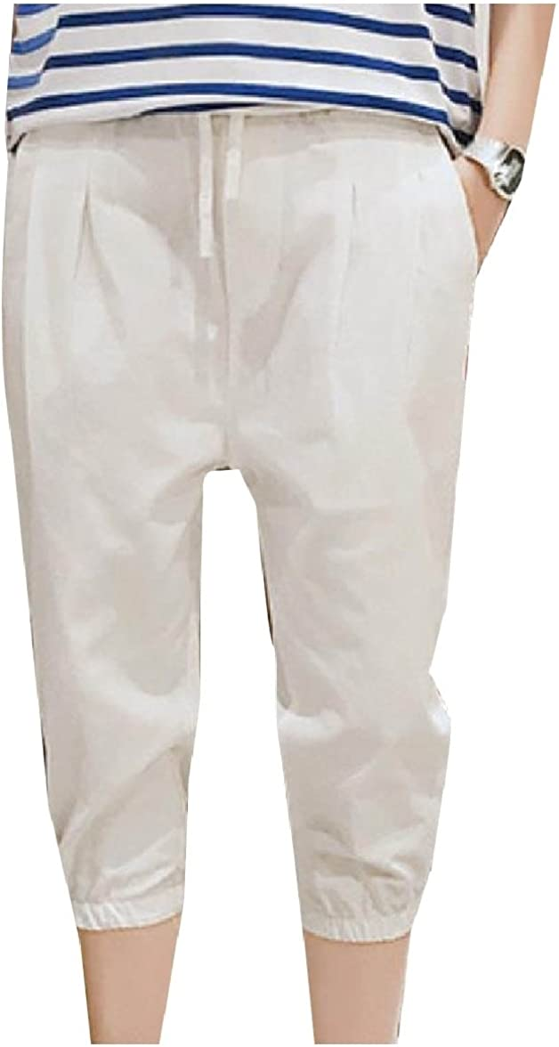 Whitive Mens Comfy Pure Color Capri Pant Slim-Tapered Harem Casual Pant