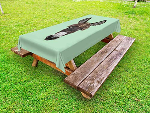 Ambesonne Donkey Outdoor Tablecloth, Illustrated Portrait of a Donkey with Luxuriant Forelock Hipster Style Mule Mascot, Decorative Washable Picnic Table Cloth, 58 X 84 Inches, Multicolor ()