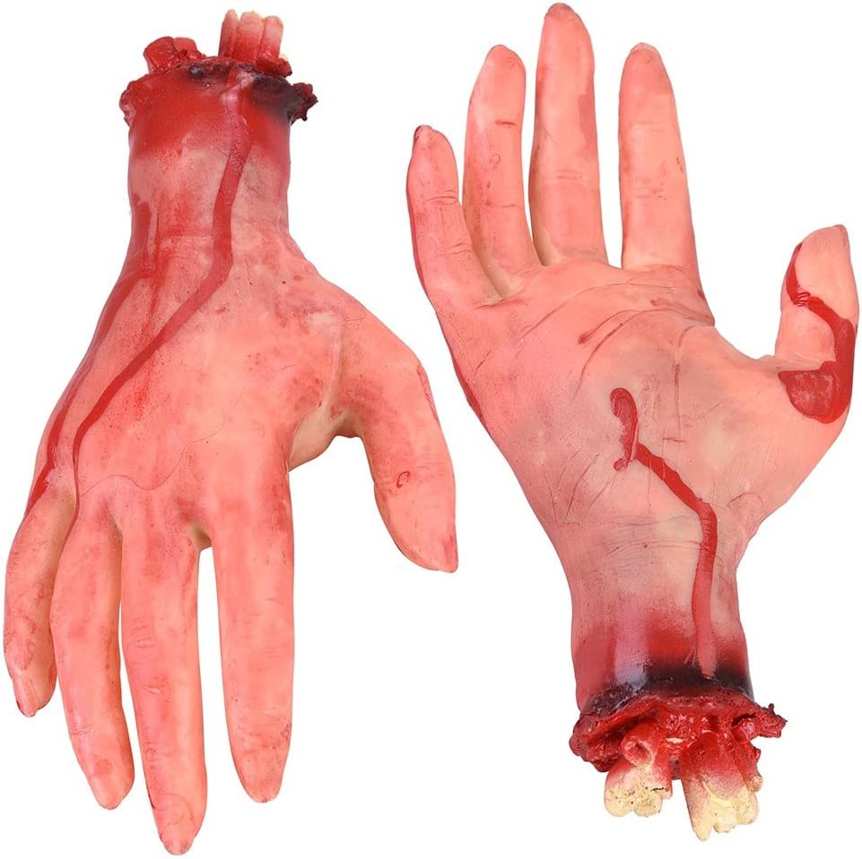 Yescom Halloween Severed Hands Feet Set Bloody Broken Body Part Festival Decoration