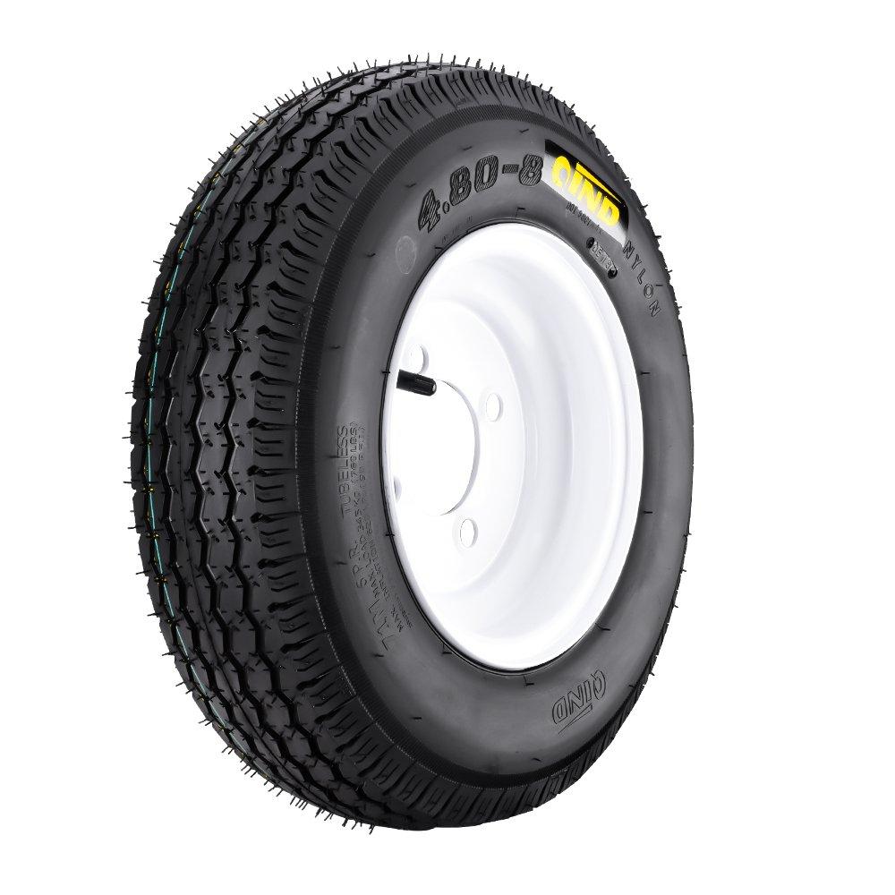 QD-712 Trailer Tire 4.80-8 6 Ply Load C On White Rims 4 Lug/4''
