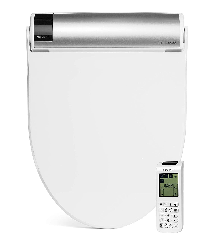 BioBidet Bliss BB2000 Elongated White Bidet Smart Toilet Seat, Premier Class, Unlimited Warm Water, Self Cleaning Hydroflush, Hybrid Heating, Wireless Remote Control, Inviting Nightlight, Vortex Wash