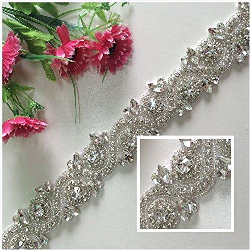 - TRLYC White Ribbon Sash Bridal Wedding Dress Rhinestone Vintage Beaded Crystal Belt Sash