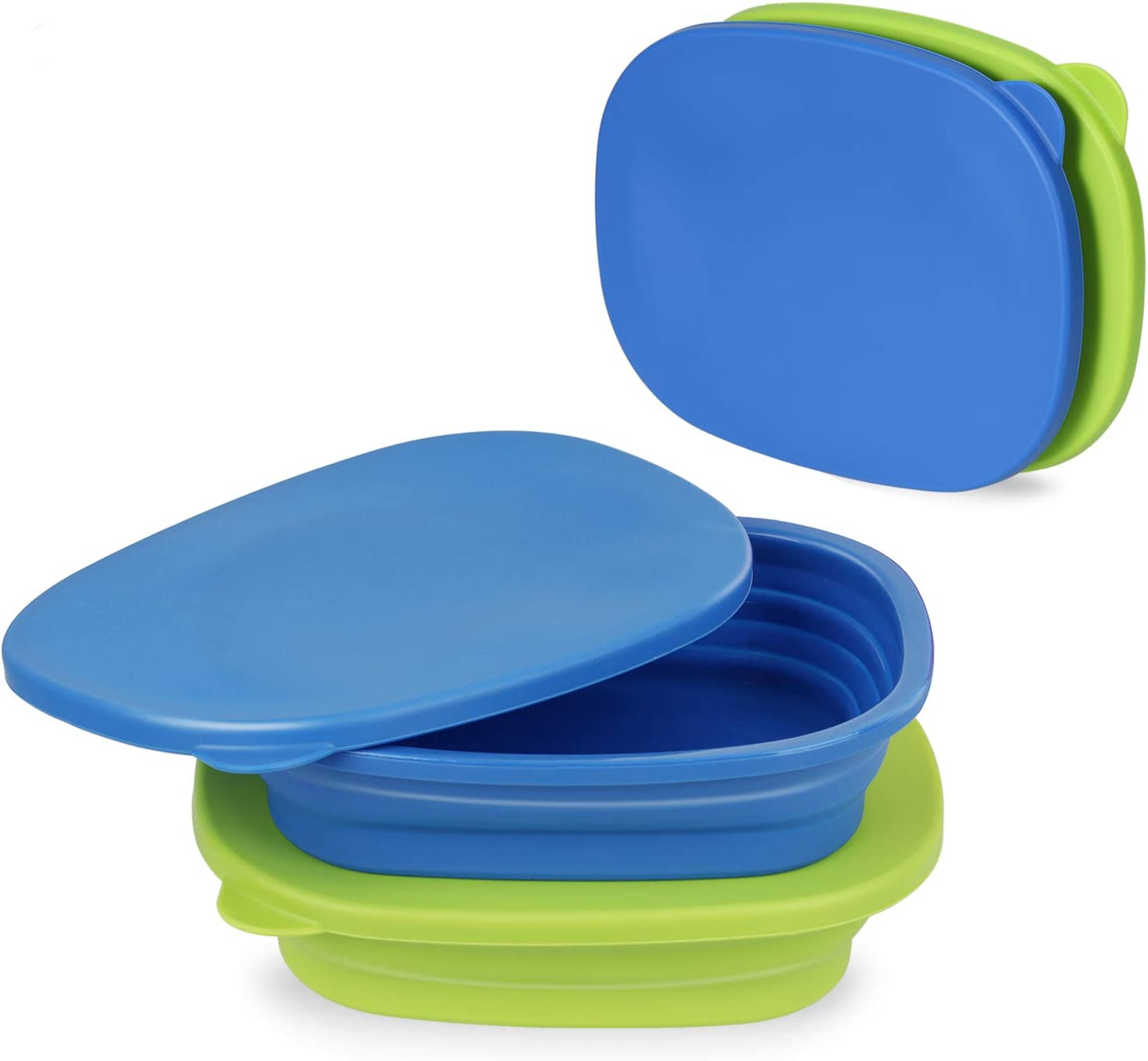 RASHDOM Oven and Microwave Silicone Collapsible Bowl, Camping Bowls, Lunch Box, Collapsible Silicone Food Storage Container with Lid for Outdoor Travel Hiking Home Office, 800ml/27oz (Blue+Green)