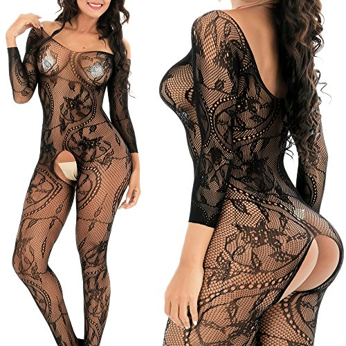 QueensHot Sleeved Sheer Lingerie Babydoll Crotchless Teddy Nightie Leotard Body Suit Stocking,Black Flower,Large