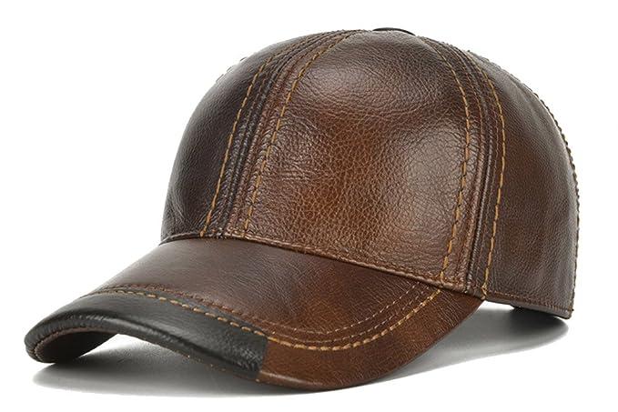 1a8d893d2b6569 Roffatide Men Leather Baseball Cap Adjustable Buckle Dad Hat Driving  Outdoor Winter Warmth Brown