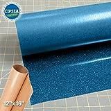 Siser Glitter Blue Easyweed Heat Transfer Craft Vinyl Roll (30ft x 10'' Bulk w/ Teflon roll)