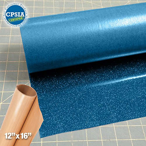 Siser Glitter Blue Easyweed Heat Transfer Craft Vinyl Roll (50ft x 10'' Bulk w/ Teflon roll) by Siser
